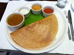 Dosa, sambar, and chutney for breakfast