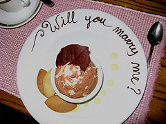 Proposal in chocolate sauce