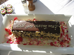 Proposal on a cake