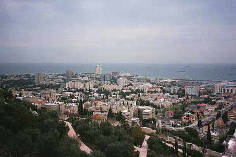 Skyline of Haifa, Israel, from the Bahai gardens