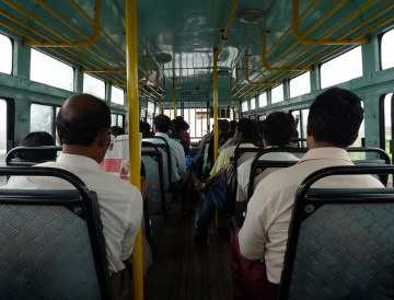 Inside a public transport bus in India