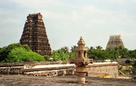 Srirangam temple towers seen from afar