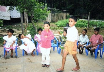 Orphaned children at an institution in India
