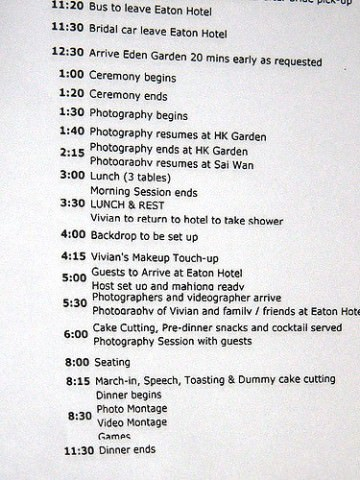 Wedding itinerary
