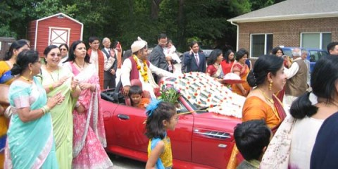 Decorated wedding cars