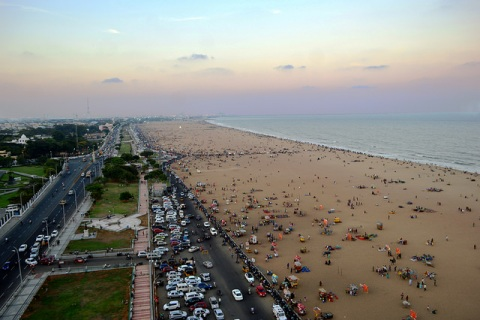 Marina beach as seen from the lighthouse