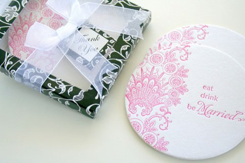 Coasters as wedding favors