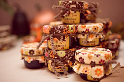 Home-made preserves as wedding favors