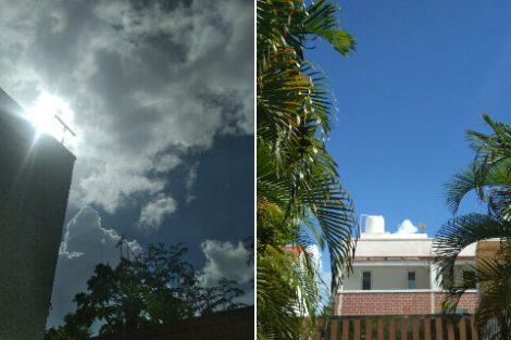 Dark clouds pass, revealing clear. bright blue sky.